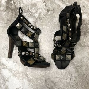 ASH Studded Heeled Sandals Size 6US 36EU Black